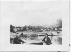 Rev. Peter R. Kelly and Gertrude in a row boat