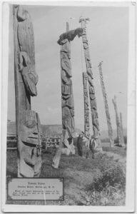 Totem poles, Skeena River, Kitwanga, B.C.