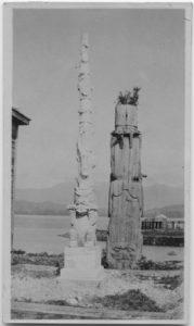 Totem poles on the street of Port Simpson