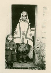 Billy Williams in full Haida regalia with his daughter