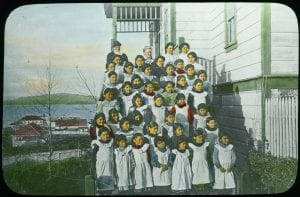 Staff and girls of the Elizabeth Long Memorial Home