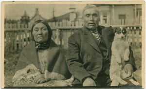 Old Jim Boss, his wife, and favourite dog, Bella Bella, B.C.