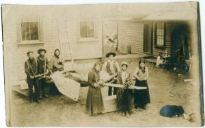 Indians bringing a patient to the Hazelton Hospital