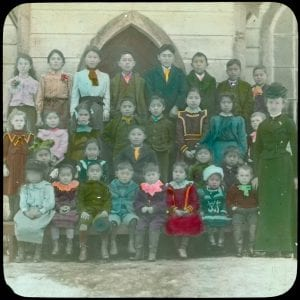 [Teacher and pupils, Indian day school, Port Simpson, B.C.]