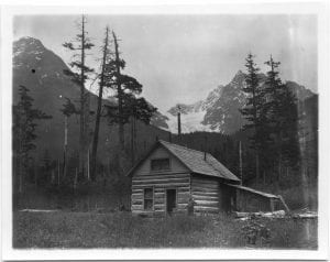 A Christian Indian's home in the forest near Bella Coola