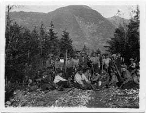 A company of Indian workers: Chief and young men, Bella Coola