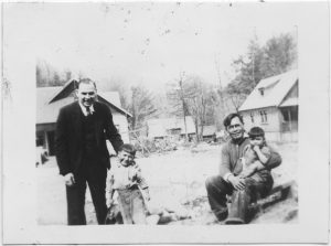 [Dr. Galbraith on his weekly rounds in the Bella Coola village]