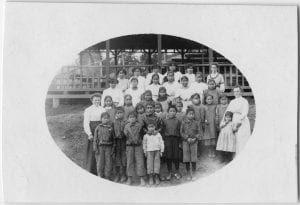 [Teachers and children, Elizabeth Long Memorial Home, Kitamaat]