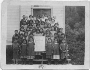 [Elizabeth Long Memorial Home: children and auxiliary women with banner]