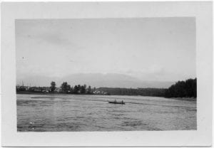 [Indians putting out nets on the Skeena River, Kispiox]