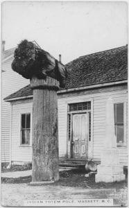 Indian totem pole, Massett, B.C.