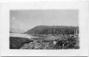 Skidegate Indian village showing the wharf