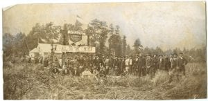 Thomas Crosby being greeted by Nisga'a at Greenville on the Nass River