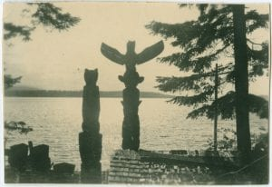 Totem poles looking out over the bay
