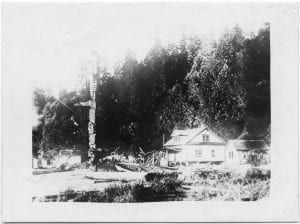 [Houses and totem pole at Rivers Inlet, B.C.]