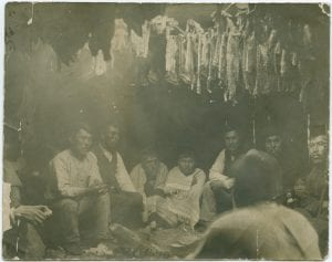 Interior of First Nation trading tent